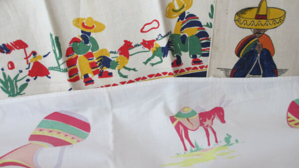 Total of Three (3) Vintage MexicanMexicana Kitchen Towels & Remnant ~ Crafts??
