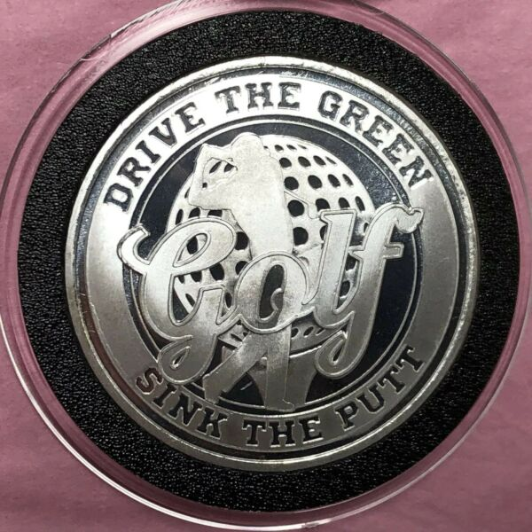 Golf Drive The Green Sink The Putt 1 Troy Oz .999 Fine Silver Round Proof Coin