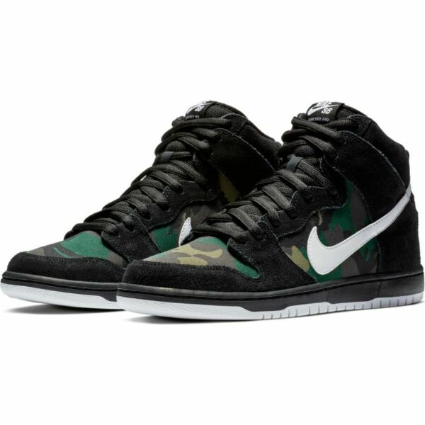 Nike SB Dunk High Pro Shoes - Camo/Black/White - Sizes 7.5-11.5