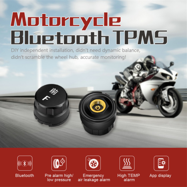 Motorcycle Bluetooth TPMS External Sensors for AndroidIOS Tire Pressure Monitor