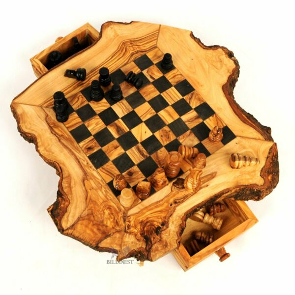 BeldiNest Olive Wood Large Chess Game Rustic Handmade Wooden Chess Set