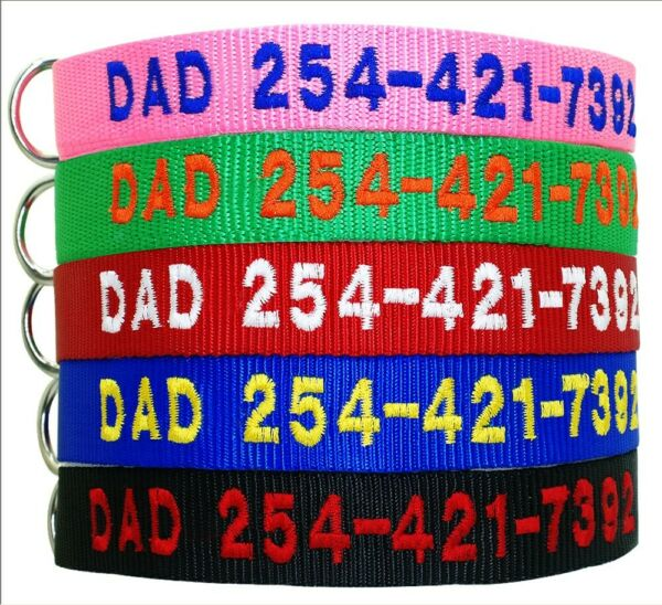 Embroidered Nylon Dog Personalized Collar Custom ID Name Number Engraved 5 Color $8.49