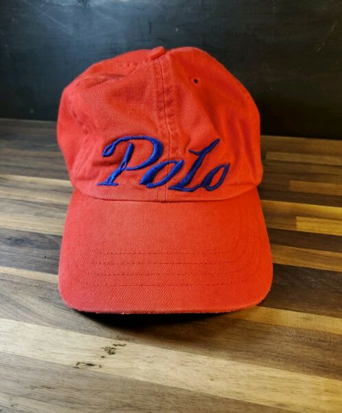 Ralph Lauren Polo Spell Out Baseball Cap - Red Cursive Lettering