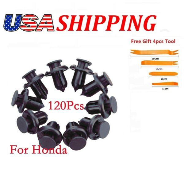 120Pcs Clips fits for Honda Hole 10mm Hood Fender Push Rivets Retainer Fasteners