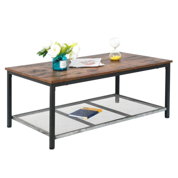 2 Tier Retro Coffee Cocktail Table w Storage Shelf Industrial Accent Living Room