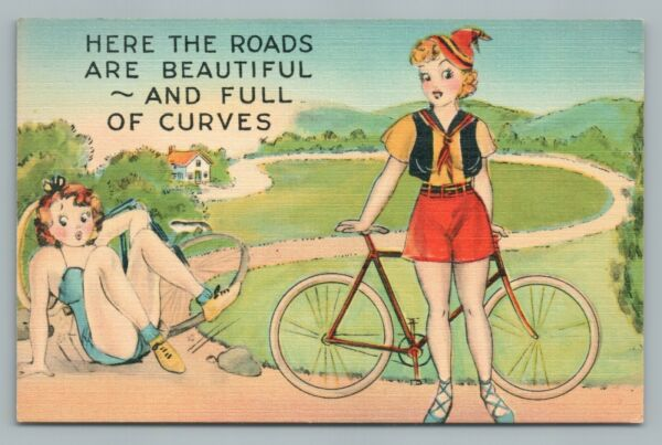 """""""Roads Beautiful amp; Full of Curves"""" Pretty Bicycle Girls—Vintage Linen Risque 40s $12.99"""