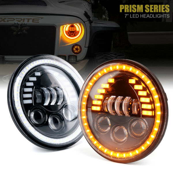 Xprite 7Inch 85W LED Headlights with Amber DRL for Jeep Wrangler JK TJ JL
