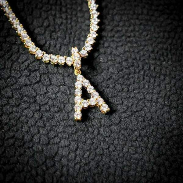 Custom Solitaire Bubble Letter Initial A to T Pendant With Tennis Chain Women's