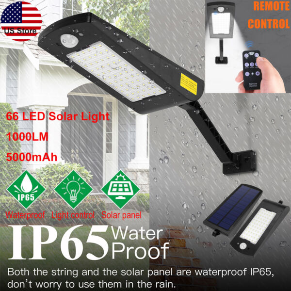 66 LED Solar Power Motion Sensor Light Outdoor Yard Garden Wall Lamp Waterproof