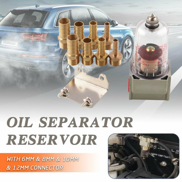 Oil Catch Can Air Filter Engine Separator With 4 Adapter For Honda Civic Ford