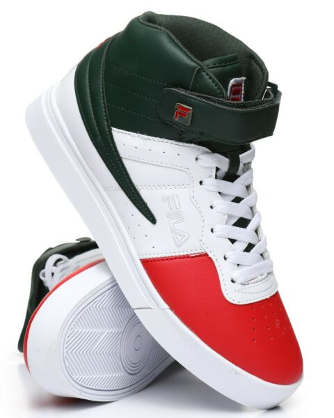 NEW 2019 MEN'S FILA VULC 13 MID PLUS GREEN WHITE RED CLASSIC HIGH TOP SNEAKERS