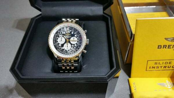 BREITLING COSMONAUTE FLYBACK BLACK DIAL D2232212B567 BOX PAPERS *MINT*