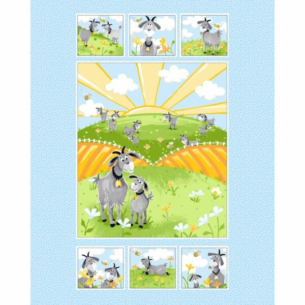 HILDY the Goat Panel Quilt Fabric by Susybee  35