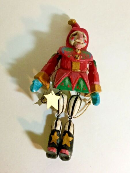 Vintage Christmas House of Hatten 1992 Large Jester Reach for the Stars Ornament