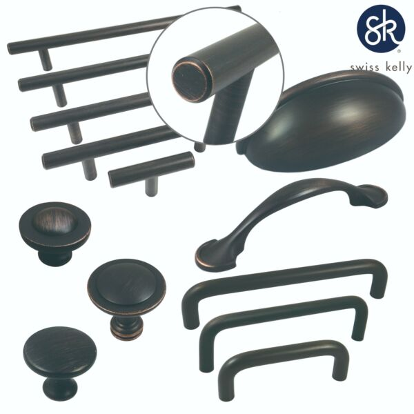Swiss Kelly Oil Rubbed Bronze Kitchen Cabinet Handles Drawer Pulls Knobs