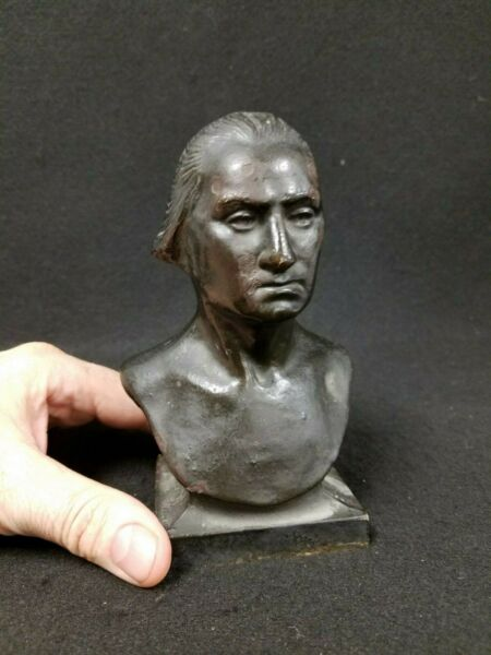 Antique or Vintage George Washington Cast Iron Bust Statue Figure Bookend