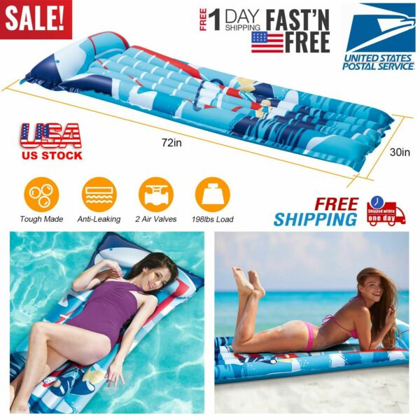 SWIMMING POOL MATTRESS Inflatable Water Float Raft Floating Lounge Heavy Duty $15.73
