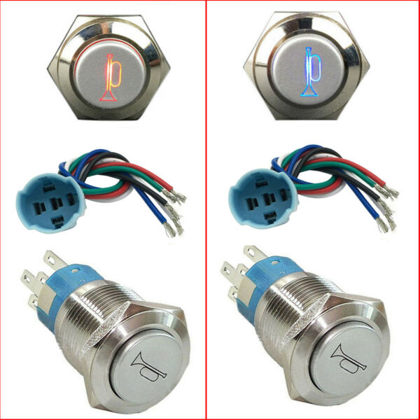 12V Socket Plug+LED Lighted Momentary Metal Push Button Air Horn Switch Car Boat