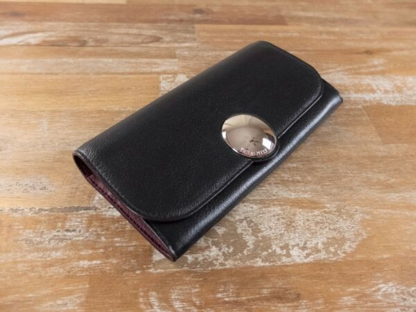 EMILIO PUCCI black flap-front Janis leather continental wallet authentic - NWT