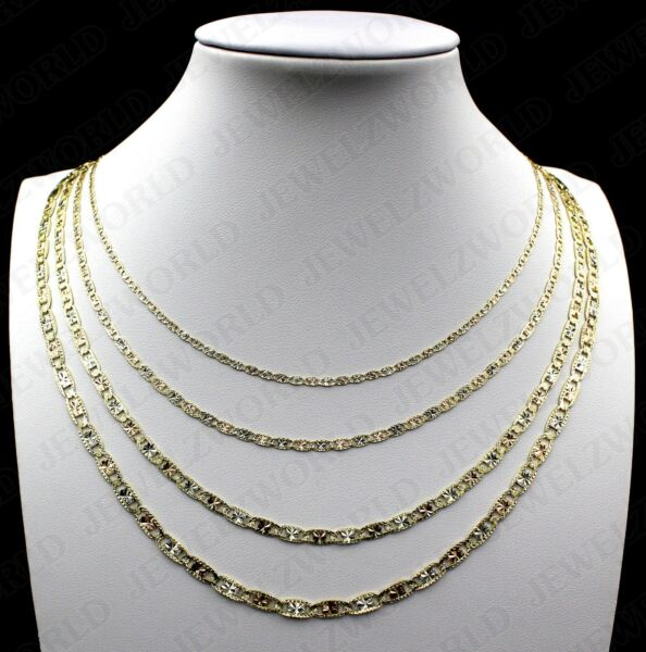 10K Tri Color Solid Gold Valentino Chain Necklace 2mm 3mm 4mm or 4.5mm $179.99
