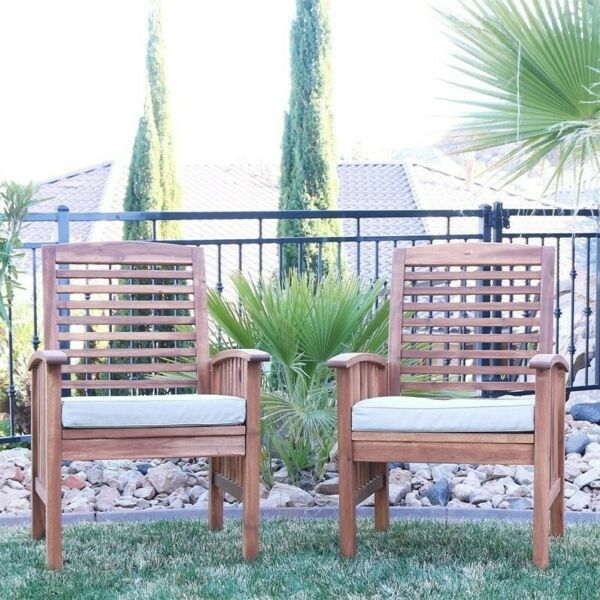 Wood Patio Chairs in Brown with Cushion Set of 2 $248.99