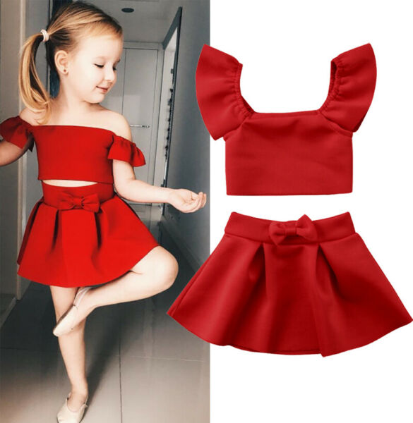 US Stock Summer Toddler Kid Baby Girl Solid Tops Red Skirt Outfit Set Clothes