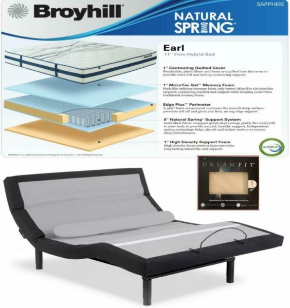 Leggett & Platt Prodigy Comfort Elite Adjustable Bed w Broyhill Hybrid & Sheets