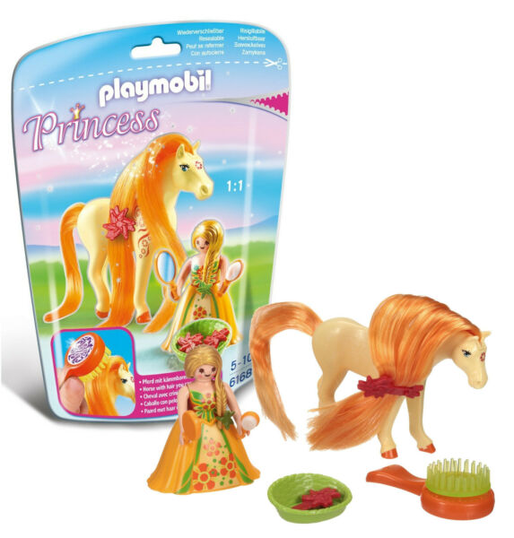 Playmobil 6168 Princess Sunny with Horse for Grooming & Dressing Mane New in Bag