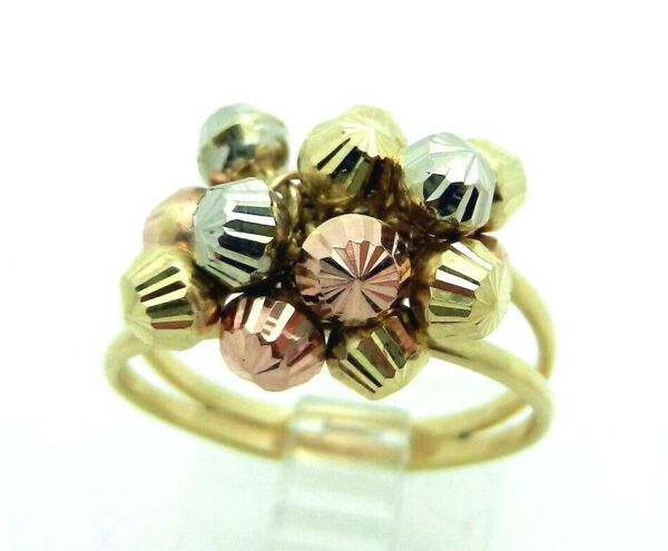 CUTE!!!14k Multi tone Gold Dangle Beads Style Ring 4.5g size 9 CUTE!!!