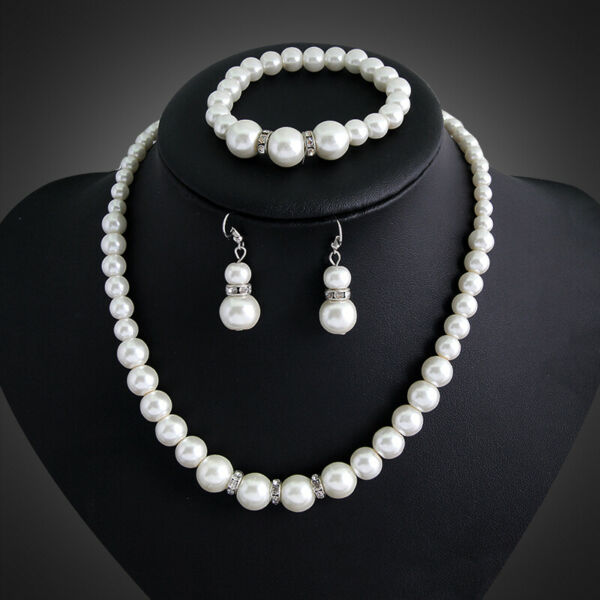 Women Real Natural Freshwater Pearl Necklace Bracelet Earrings Jewelry Set