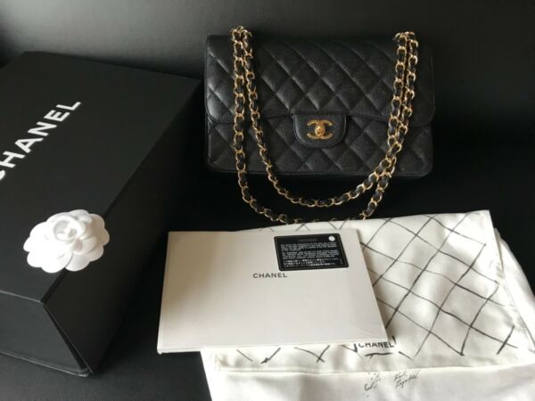 MIB 100%AUTH CHANEL Classic Black Caviar Quilted Flap Jumbo Bag Gold Hardwares