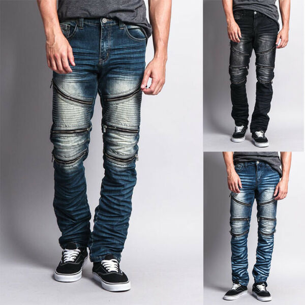 Victorious Men#x27;s Wrinkle Jipper Wash Biker Moto Slim fit Jeans Pants DL1017