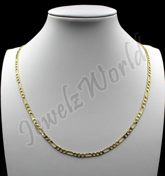 10K Solid Yellow Gold Figaro Link Chain Necklace 2MM 16quot; 18quot; 20quot; 22quot; 24quot; 30quot;