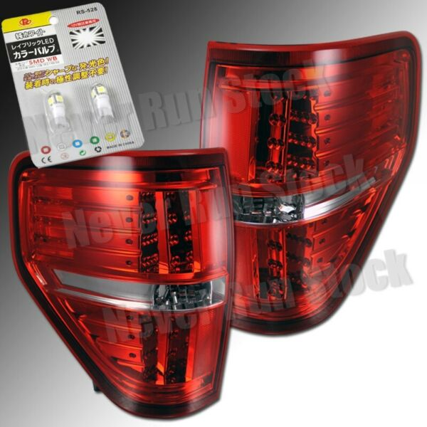 FORD F150 RED CLEAR OE LOOK LED TAIL LIGHTS +SUPER WHITE LED LICENSE PLATE BULBS