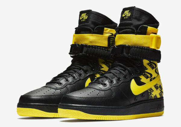 Nike SF AF1 Air Force One High Sneaker Shoe Boot AR1955 001 YELLOW BLACK Men 12
