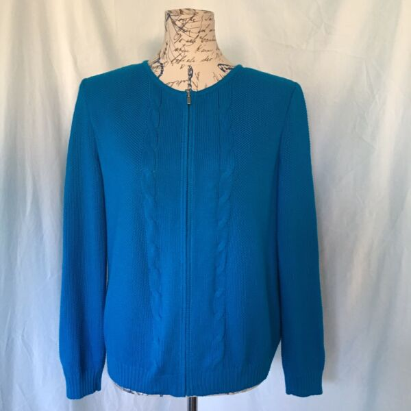 St. John Cable Knit cardigan Blue Zipper Closure Wool Rayon Blend Size Small