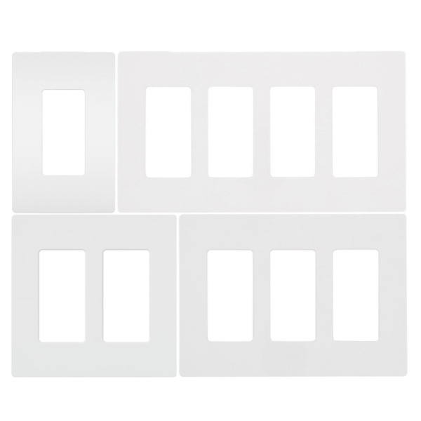 Screwless Wallplate 1-4 Gang White Switch Plate Cover for Outlets