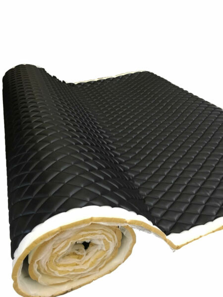 Black PVC Quilted Upholstery Vinyl Fabric with 3 8quot; Foam Backing by the yard