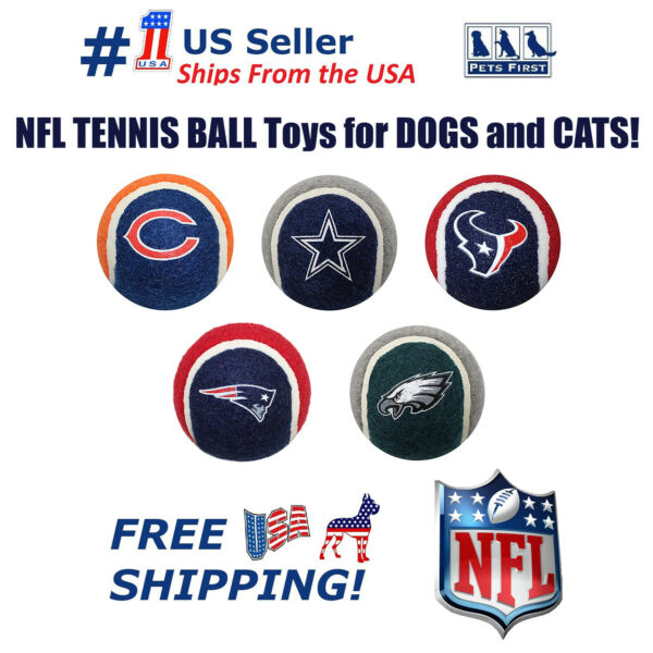 Pets First NFL 2PC TENNIS BALL TOYS for your Sporty Pets - Dogs  Cats