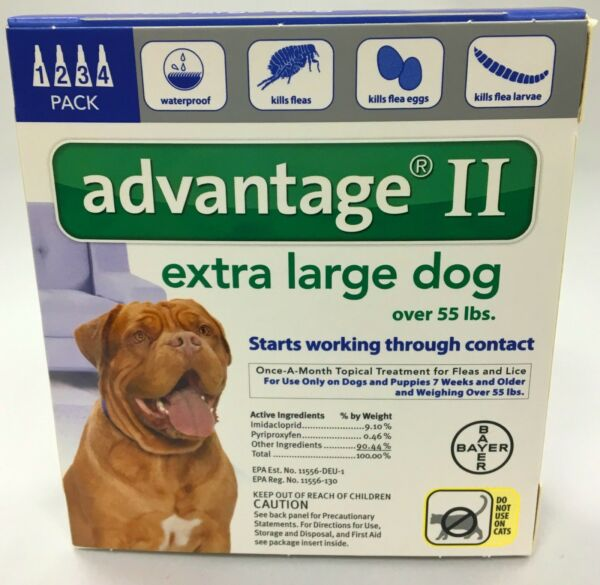 Advantage II for XLarge Dogs 55lbs & Over 4 Pack EPA APPROVED