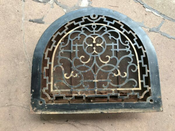 Arched Iron Fireplace Heat Vent Louvers Works Ornate Metal Vintage Antique