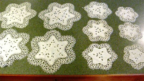 Vintage Bobbin Lace Doily Table Settings 34 piece Wedding Bridal Tea Party Lot