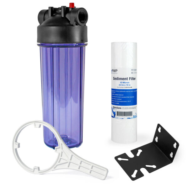 Whole House Water Filtration Kit With Clear Housing and Sediment Filter