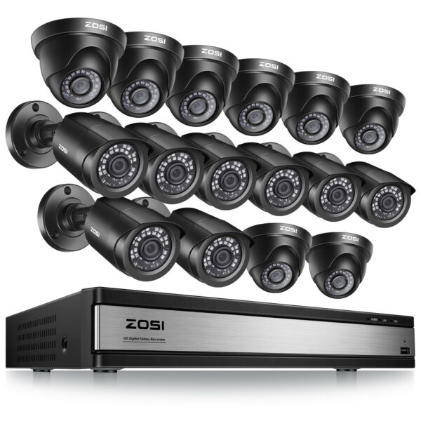 ZOSI 16 Channel 720p DVR Recorder 1500TVL HD Outdoor CCTV Security Camera System