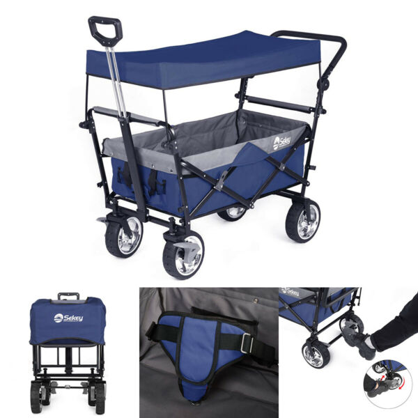 OUTDOOR FOLDING WAGON CANOPY GARDEN UTILITY CART W BRAKE PUSH & PULL HANDLE