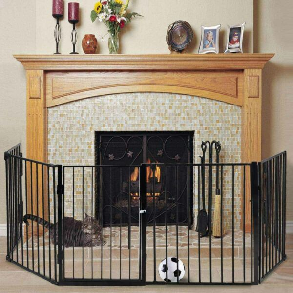 Steel & Plastic Baby Child Safety Gate Fire Gate Fireplace Pet Dog Cat Fence