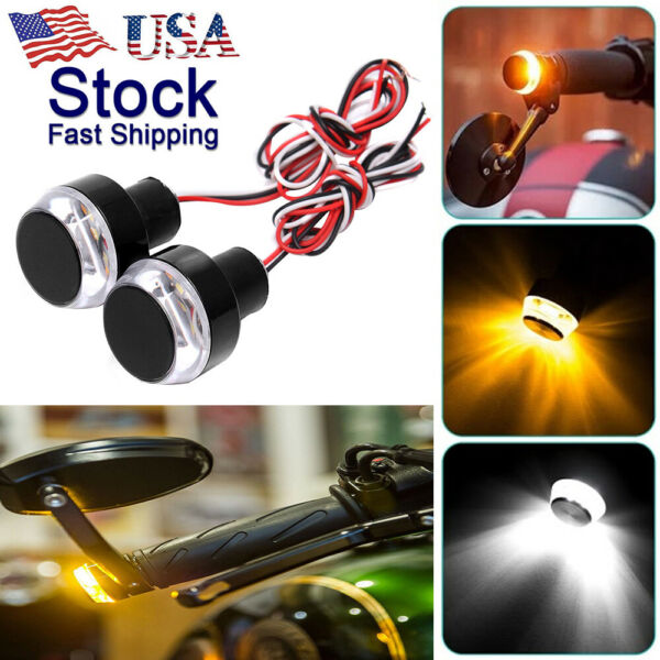 2PCS&Motorcycle Turn Signal LED Light Indicator Blinker Handle Bar End Handlebar