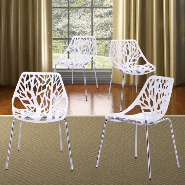 Birds Nest Set of 4Pcs White Modern Dining Chairs KID-FRIENDLY Birch Stackable