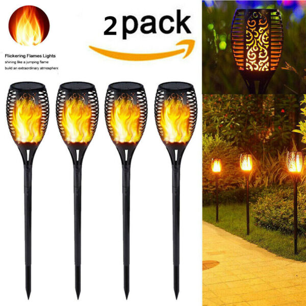 2PC 33LED Solar Power Torch Light Flickering Flame Garden Waterproof Lamp US