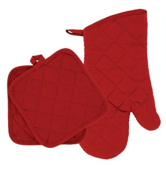 Home Collections - Kitchen Linens - Red - Oven Mitt - Pot Holders